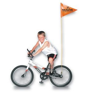 "10"" x 12"" Bike Safety Flag w/Fiberglass Pole (1 Side Imprint)"