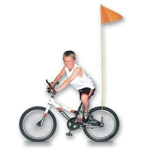 "10"" x 12"" Bike Safety Flag w/Fiberglass Pole"