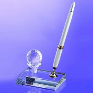 Awards-Crystal golf pen set w/ silver pen.3 inch high